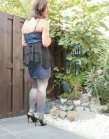 Robe habiller satine bleu clair noir HM 12