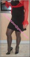 robe noir sexy avec bolero rouge