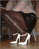 Escarpins blancs bride 14cm avec jupe cuir 42
