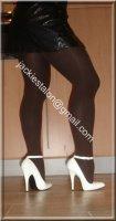 Escarpins blancs bride 14cm avec jupe cuir 43