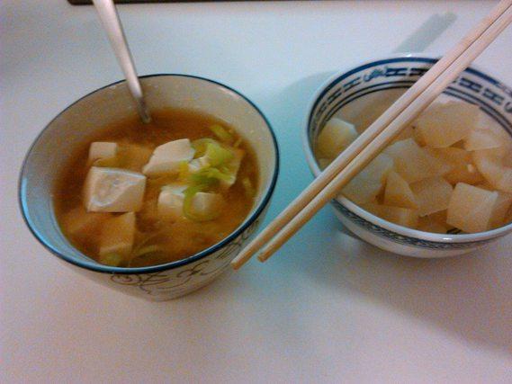 Soupe miso et daikon