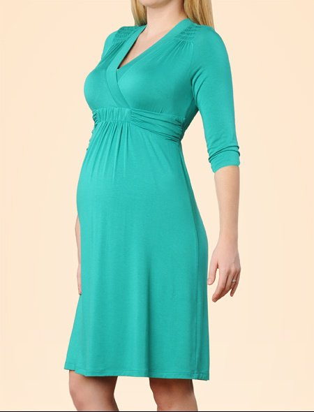 3 quarter Sleeve Smocked Maternity Dress in deep jade4 by a pea in the pod