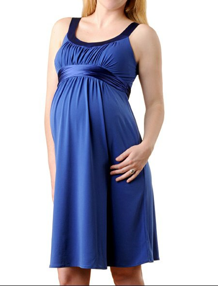 Sleeveless Charmeuse Trim Maternity Dress3 by a pea in the pod