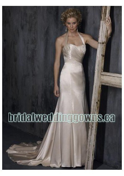 satin-dropped-neckline-with-halter-and-slim-sheath-skirt-in-chapel-train-design-informal-wedding-dre