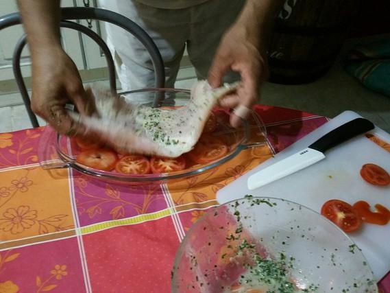 mise en place du poisson dans le plat