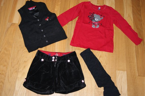 Ensemble sergent major 4 pièces 4 ans collant 23-24 fin short grand 3 ans