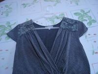 Robe gris pois + dentelle, manches courtes col V T 4 = 44 46 TBE RIU 3