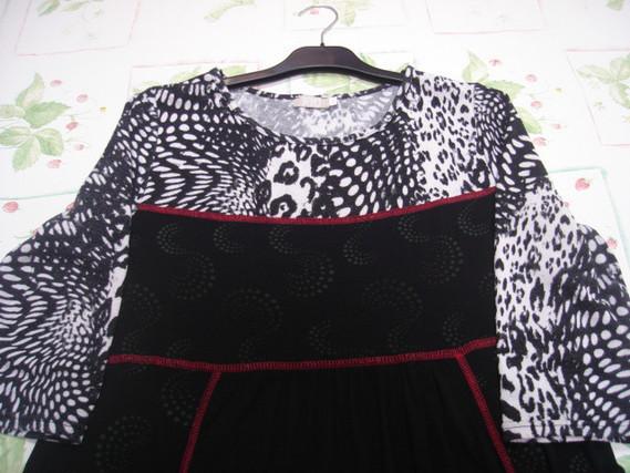Robe tunique manches 34 noire grise rouge T 5 = 46 48 J Riu TBE 3