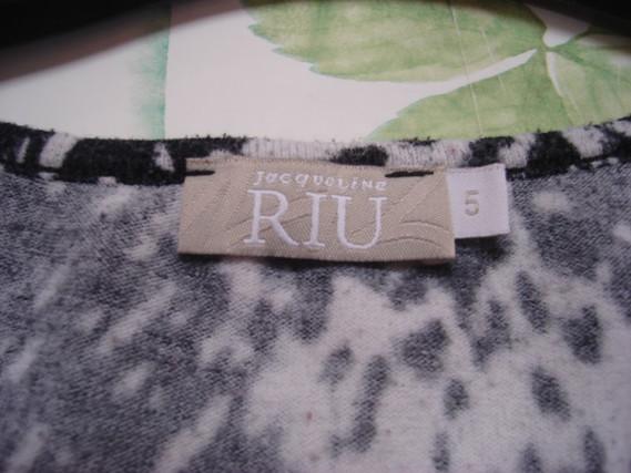Robe tunique manches 34 noire grise rouge T 5 = 46 48 J Riu TBE 4
