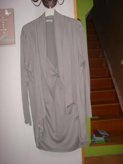Tunique manches longues effet 2 en 1 tunique gilet gris Aniss T XL = 46 48 TBE 1