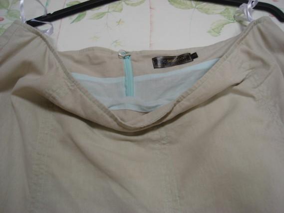 Jupe longue beige surpiqures vert d'eau BPD SELECTION T 48 TBE 4