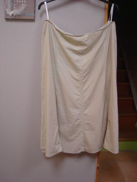 Jupe longue beige surpiqures vert d'eau BPD SELECTION T 48 TBE 1