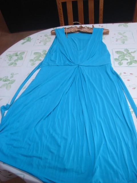 Robe tunique sans manches col V turquoise ceinture à nouer dans le dos Riu T 44 TBE 2
