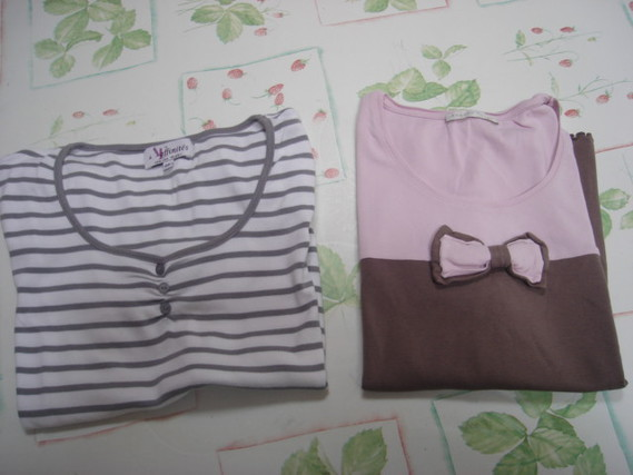 Lot 2 tee-shirts cols ronds manches courtes Armand thierry T 5 = 46 48 rose chocolat TBE + 1 à rayur