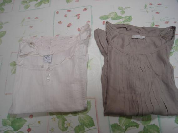 Lot 2 tee-shirts manches courtes unis Riu T 4 = 44 46 beige et grège TBE 1