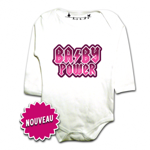 BML-body bebe manches longues-AC DC Baby Power-Blanc