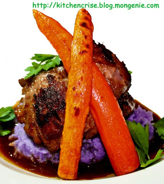 veau braisé aux carotte et purrée copie