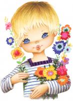poulbot blond fleurs