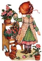 fille arrose plantes