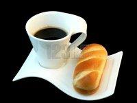 café tasse petit pain lait