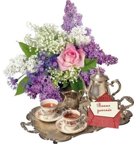 bonne journée plateau thé fleurs