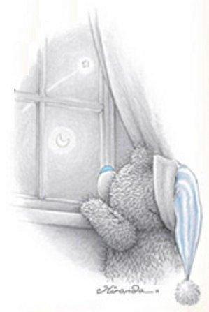 nounours regarde lune fenêtre