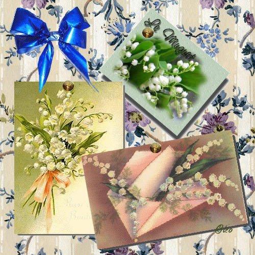 muguets bouquets noeud bleu