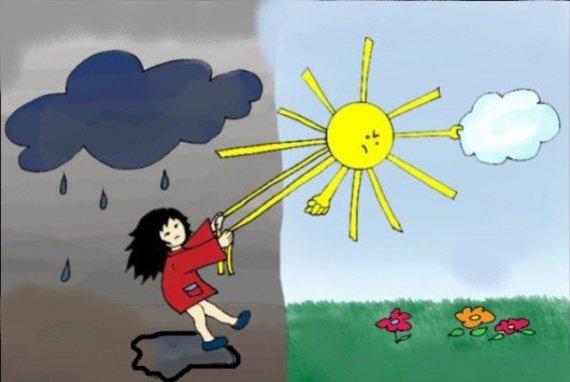 soleil pluie tite fille tire soleil