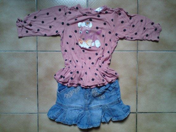 18 mois, jupe + blouse kidkanai, jupeTBE, dessins du top légèrement abimés, 4 euros