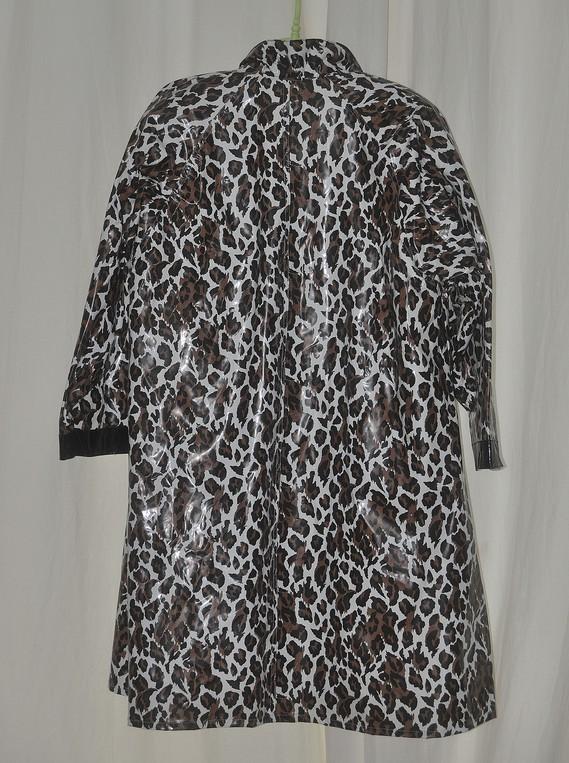 Manteau vinyl chiné noir et maron de dos