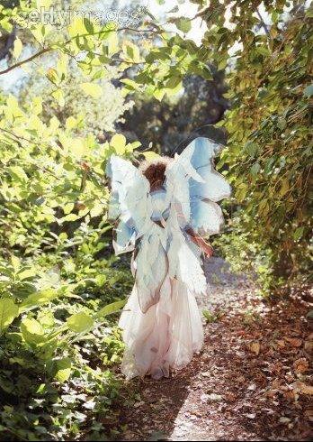 Girl (3-5) wearing costume with wings