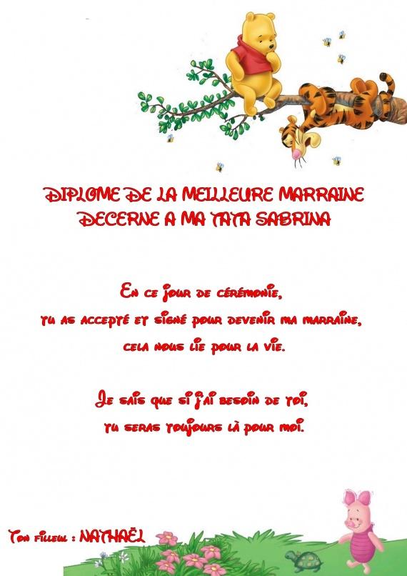 Génial Veux Tu Etre Ma Marraine Texte diplome marraine 2 - préparatif baptême nathaël - ktyb62218 - photos