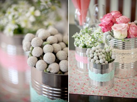 Id e d co florale pots de conserve entour s de dentelle id es pour mon mariage en 2012 for Idee van deco