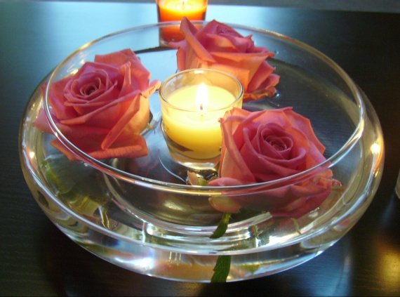 photophore bougies + roses