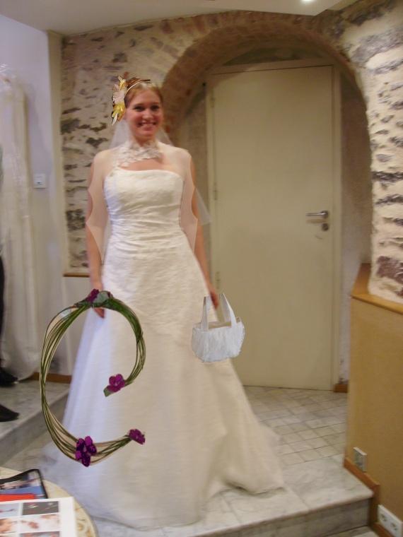 essai robe + bouquet+coiffe + sac