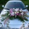 Déco voiture roses, lys lila, jasmin, lierre, aspi, aspa...