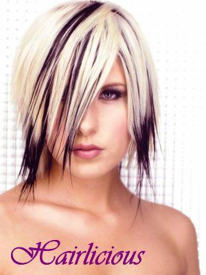Coiffure meches blondes et noires