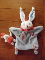DOUDOU & CIe -  marionnette lapin bleu & bébé