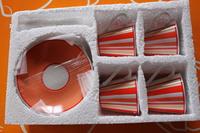 4 tasses & ss tasses orange rayées