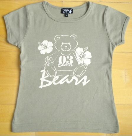tee-shirt caprice de fille 12 mais taille 10 ans kaki nounours : 3 euros.