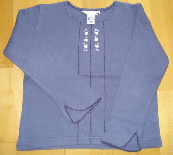 tee-shirt violet brodé ML H§M 6 ans ( taille grand!) : 4 euros car porté 2 fois.