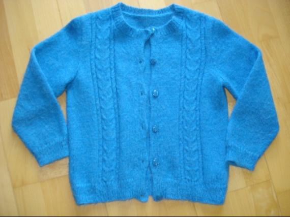 superbe cardigan bleu laine phildar 8 ans trés doux 4 euros