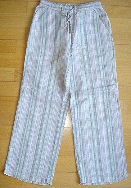 pantalon lin rayures tons verts roses H&M 8-9 ans liens resserables taille : 4 euros!