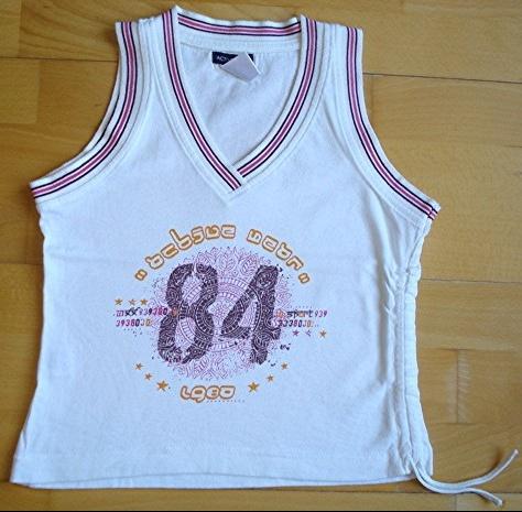 tte-shirt blanc impression mode active wear 10 ans peu porté : 4 euros.