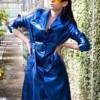 Blue PVC metallic coat
