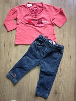 ensemble fille lcdp 12 mois 2 pieces pantalon jean et ts rose 15€