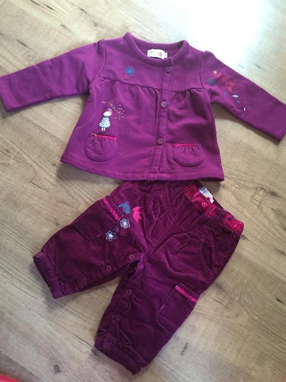ensemble fille lcdp 9 mois cardigan et pantalon violet
