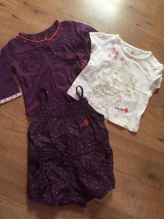 ensemble fille 3 mois 3p salopette short tee shirt et cardigan violet 2