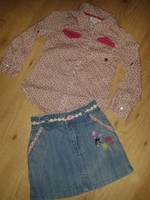 ensemble fille lcdp 3 ans jupe jean et chemise liberty 1