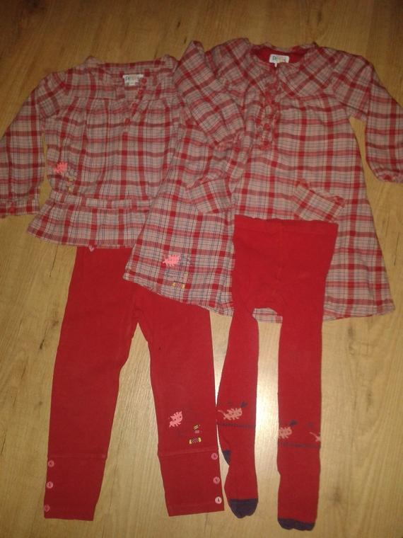 ensemble fille 3 ans 4 pieces rouge carreaux